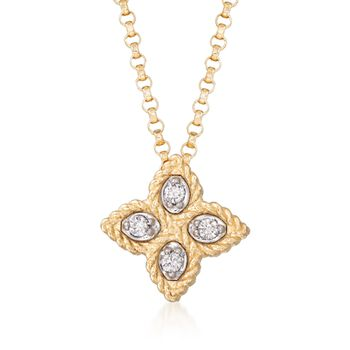 """Roberto Coin """"Princess"""" 18kt Yellow Gold Small Flower Pendant Necklace With Diamond Accents. 16"""", , default"""