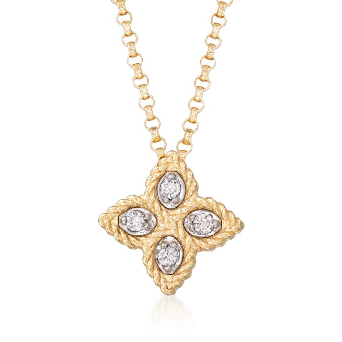 "Roberto Coin ""Princess"" 18kt Yellow Gold Small Flower Pendant Necklace with Diamond Accents. 16"", , default"
