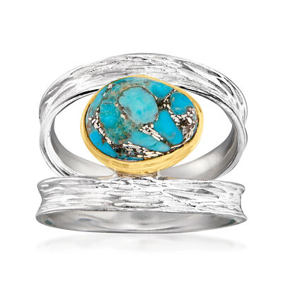 Turquoise Open-Space Ring in Two-Tone Sterling Silver