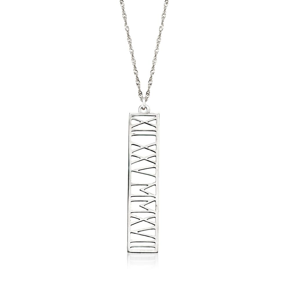 Sterling Silver Roman Numeral Personalized Date Pendant