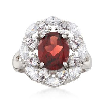 2.60 Carat Garnet and 3.50 ct. t.w. White Topaz Ring in Sterling Silver, , default