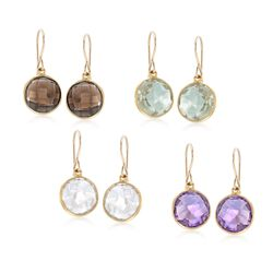 28.00 ct. t.w. Multi-Stone Jewelry Set: Four Pairs of Drop Earrings in 14kt Gold Over Sterling, , default