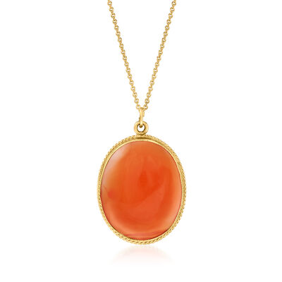 C. 1960 Vintage Red Carnelian Pendant Necklace in 14kt Yellow Gold