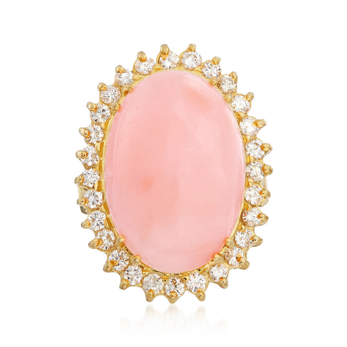 C. 1960 Vintage Pink Coral and .90 ct. t.w. Diamond Ring in 18kt Yellow Gold. Size 5, , default