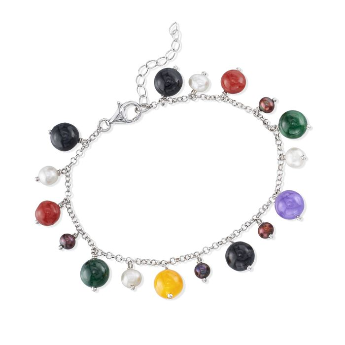 """4-5mm Black and White Cultured Pearl and Multicolored Jade Bead Bracelet in Sterling Silver. 7"""", , default"""