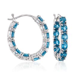 "4.30 ct. t.w. London Blue Topaz Inside-Outside Hoop Earrings in Sterling Silver. 7/8"", , default"
