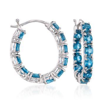 """4.30 ct. t.w. London Blue Topaz Inside-Outside Hoop Earrings in Sterling Silver. 7/8"""", , default"""