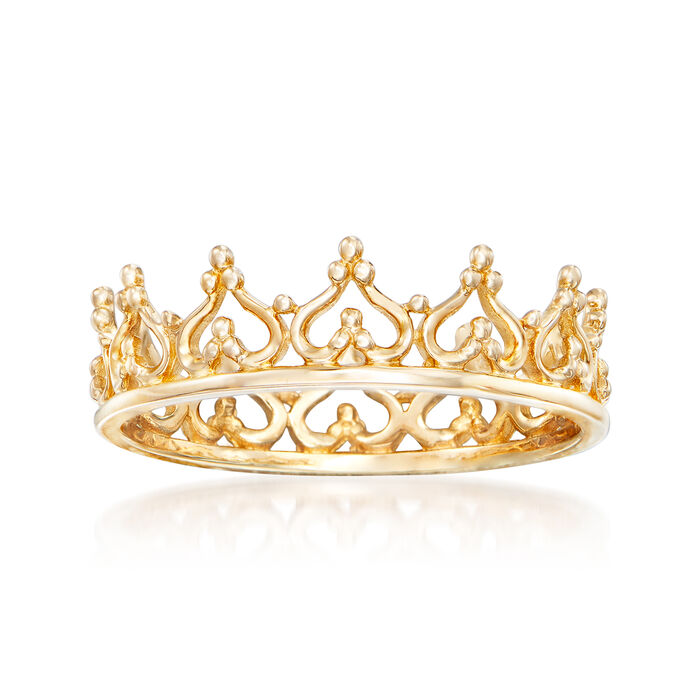 14kt Yellow Gold Royal Crown Ring, , default