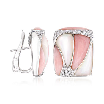 C. 1980 Vintage Pink Jade, Mother-Of-Pearl and .65 ct. t.w. Diamond Earrings in 18kt White Gold