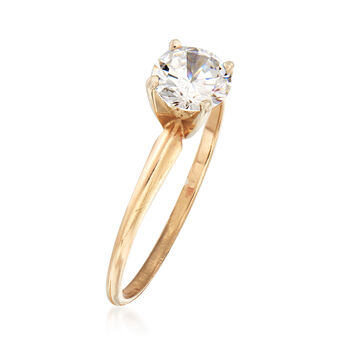 C. 1990 Vintage .85 Carat CZ Ring in 10kt Yellow Gold. Size 7, , default