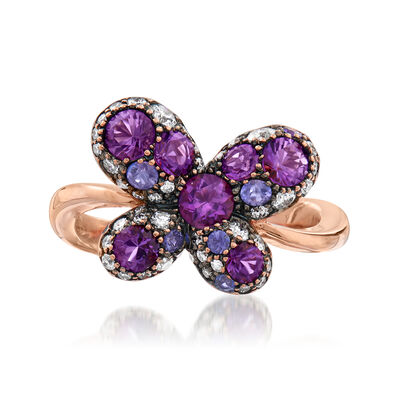 C. 1980 Vintage Crivelli 1.35 ct. t.w. Multi-Gemstone and .30 ct. t.w. Diamond Butterfly Ring in 18kt Rose Gold, , default