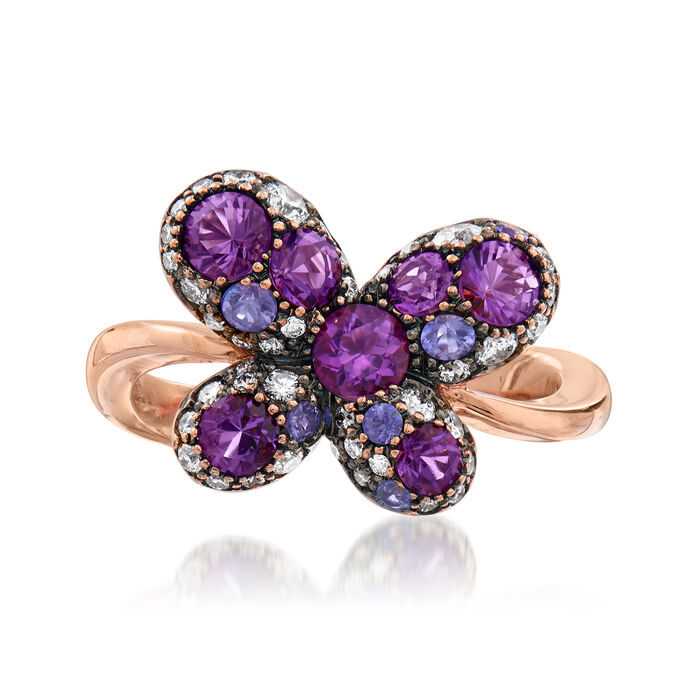 C. 1980 Vintage Crivelli 1.35 ct. t.w. Multi-Gemstone and .30 ct. t.w. Diamond Butterfly Ring in 18kt Rose Gold. Size 7, , default
