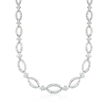"Kwiat ""Crescent"" 11.45 ct. t.w. Diamond Open Oval Link Necklace in 18kt White Gold. 16.75"", , default"