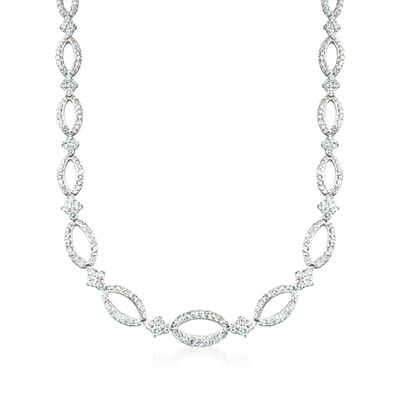 "Kwiat ""Crescent"" 11.45 ct. t.w. Diamond Open Oval Link Necklace in 18kt White Gold, , default"