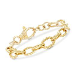 Italian Andiamo 14kt Yellow Gold Oval-Link Bracelet, , default
