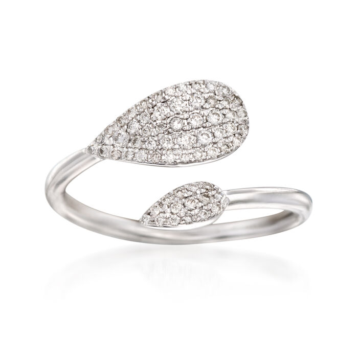 Gabriel Designs .26 ct. t.w. Diamond Bypass Ring in 14kt White Gold. Size 7, , default
