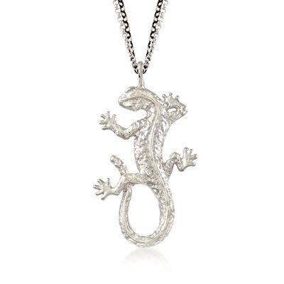 Sterling Silver Lizard Drop Necklace, , default