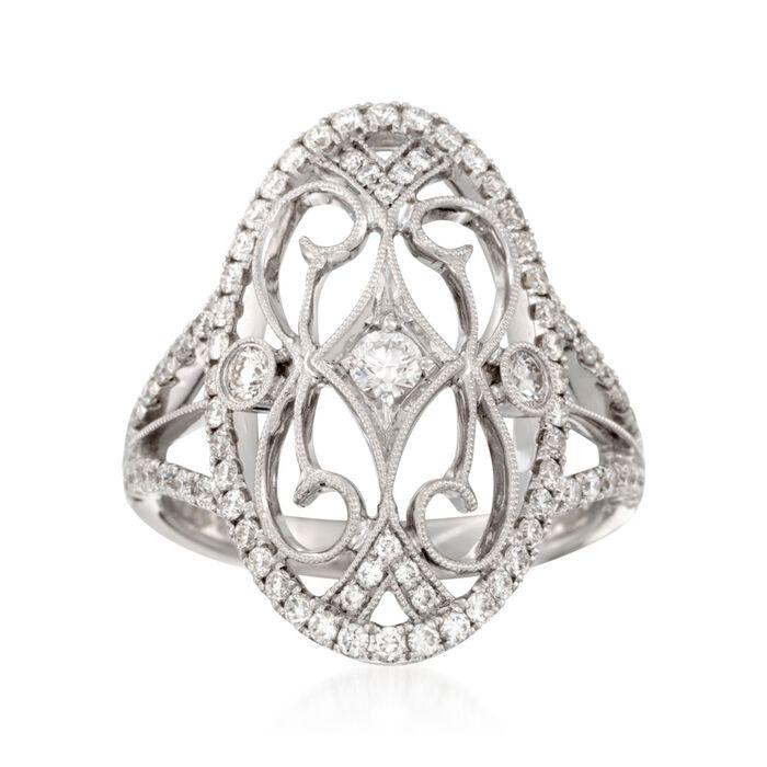 Simon G. .82 ct. t.w. Diamond Filigree-Style Ring in 18kt White Gold, , default