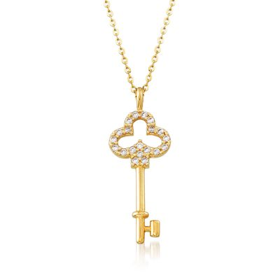.30 ct. t.w. CZ Skeleton Key Pendant Necklace in 18kt Yellow Gold, , default