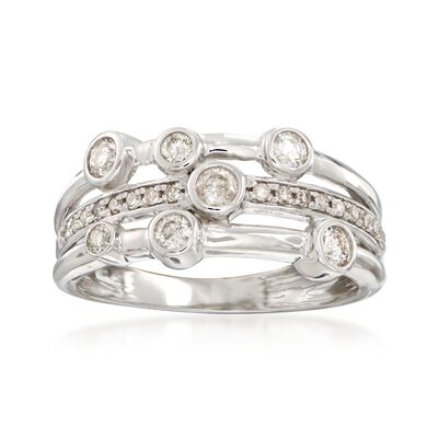 .50 ct. t.w. Diamond Triple-Row Bezel Ring in 14kt White Gold, , default