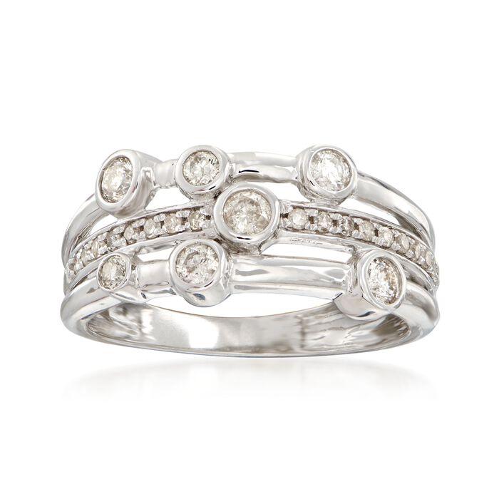 .50 ct. t.w. Diamond Triple-Row Bezel Ring in 14kt White Gold, , default