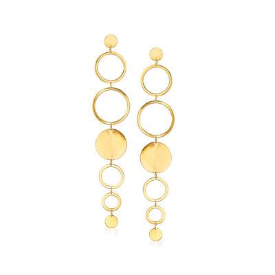 Italian 14kt Yellow Gold Multi-Circle Drop Earrings, , default