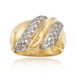 C. 1980 Vintage .50 ct. t.w. Diamond Dome Ring in 18kt Yellow Gold, , default