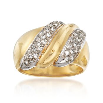 C. 1980 Vintage .50 ct. t.w. Diamond Dome Ring in 18kt Yellow Gold. Size 6.5, , default