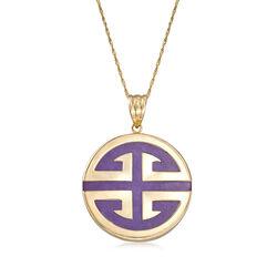 Lavender Jade Longevity Symbol Pendant Necklace in 14kt Yellow Gold, , default