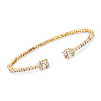 1.19 ct. t.w. Diamond Cuff Bracelet in 18kt Yellow Gold, , default