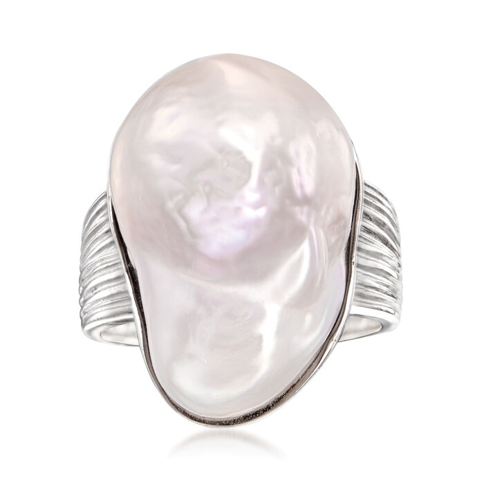 Cultured Baroque Pearl Ring in Sterling Silver, , default
