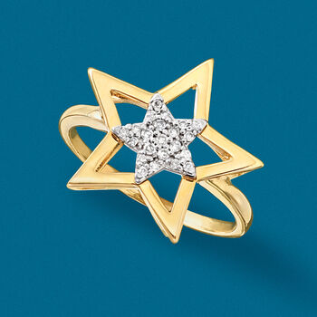 .10 ct. t.w. Diamond Star Ring in 14kt Yellow Gold, , default