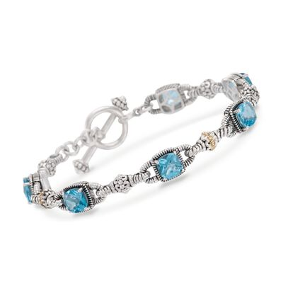 6.05 ct. t.w. Blue Topaz Bracelet in Sterling Silver and 14kt Yellow Gold, , default