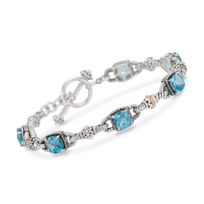 "6.05 ct. t.w. Blue Topaz Bracelet in Sterling Silver and 14kt Yellow Gold. 7"", , default"