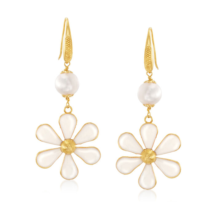 Italian Cultured Pearl and White Enamel Flower Drop Earrings, , default