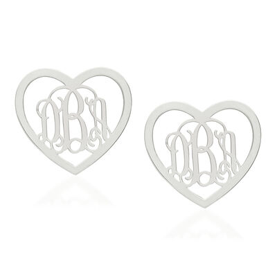 Sterling Silver Medium Laser Polished Heart Monogram Post Earrings, , default