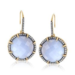 18mm Blue Agate and .80 ct. t.w. White Topaz Drop Earrings in 18kt Gold Over Sterling, , default