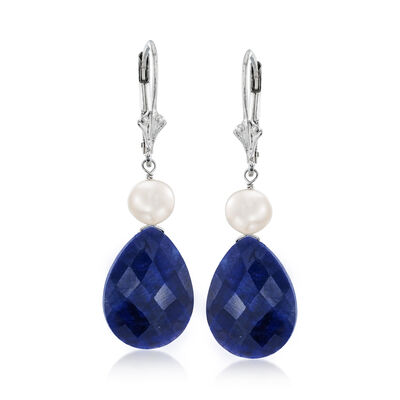 20.00 ct. t.w. Sapphire and Cultured Pearl Drop Earrings in Sterling Silver, , default