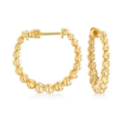 Gabriel Designs 14kt Yellow Gold Graduated Bead Hoop Earrings