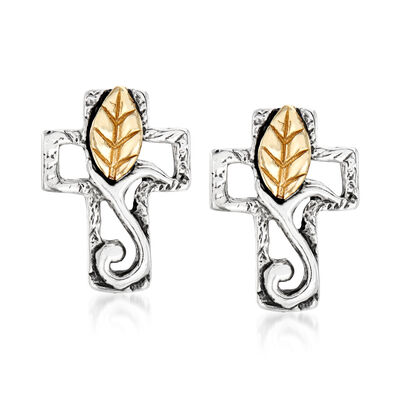 Sterling Silver and 14kt Yellow Gold Cross and Leaf Stud Earrings