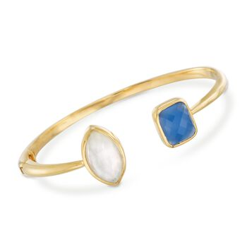 "Multi-Stone Cuff Bracelet in 18kt Gold Over Sterling. 8"", , default"