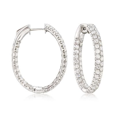 4.00 ct. t.w. Diamond Inside-Outside Oval Hoop Earrings in 14kt White Gold