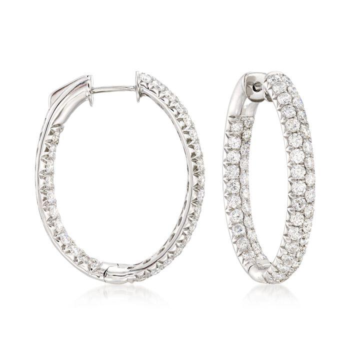 """4.00 ct. t.w. Diamond Inside-Outside Oval Hoop Earrings in 14kt White Gold. 1 1/8"""", , default"""