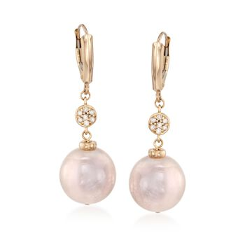 12-14mm Pink Cultured Pearl Drop Earrings With Diamonds in 14kt Yellow Gold , , default
