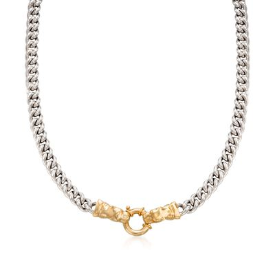 Italian Sterling Silver and 18kt Gold Over Sterling Double Panther Head Necklace, , default