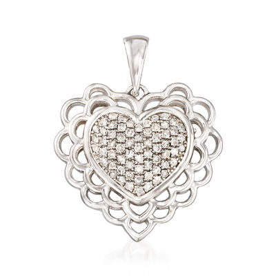 .20 ct. t.w. Diamond Heart Pendant in Sterling Silver