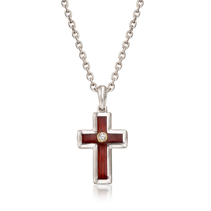 Sterling Silver and Wood Cross Pendant Necklace with 14kt Yellow Gold and Diamond Accents