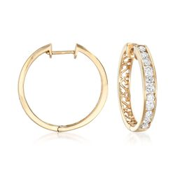 1.00 ct. t.w. Channel-Set Diamond Hoop Earrings in 14kt Yellow Gold, , default