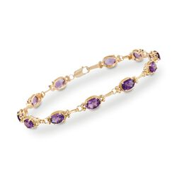 "5.00 ct. t.w. Amethyst Bracelet in 14kt Yellow Gold. 7"", , default"