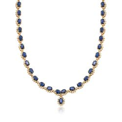"C. 1990 Vintage 39.00 ct. t.w. Sapphire and 5.00 ct. t.w. Diamond Necklace in 14kt Yellow Gold. 17.5"", , default"